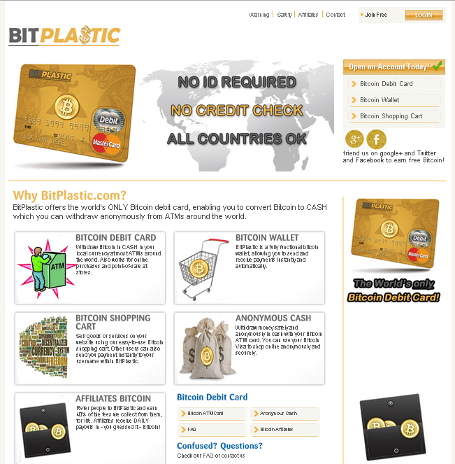 bitplastic - bitcoin debit card