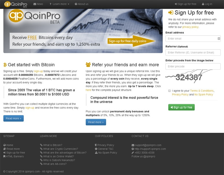 qoinpro review - earn free bitcoin