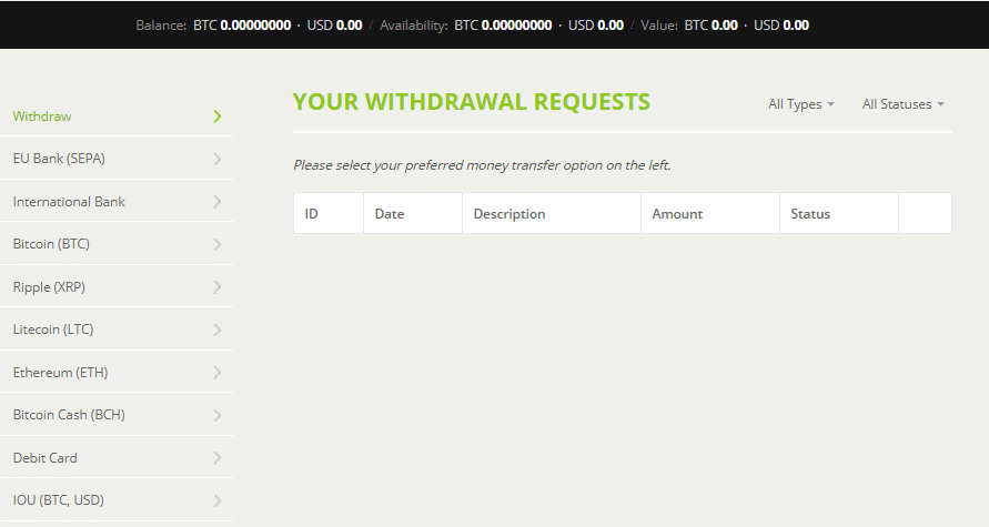 withdrawal page