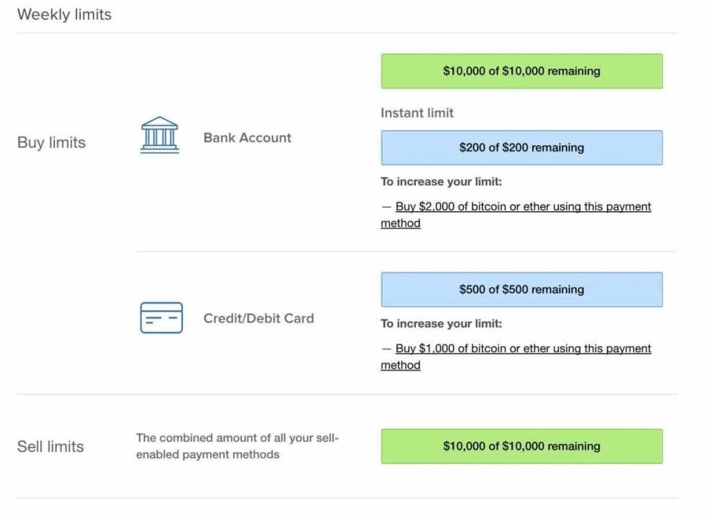coinbase limits