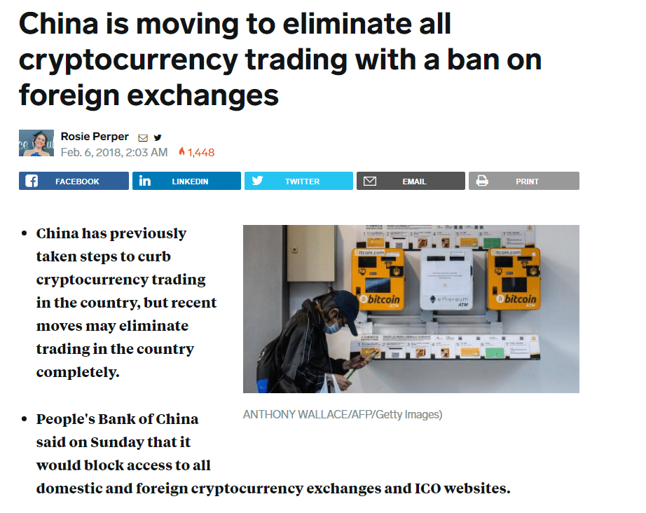 China's ban cryptocurrency trading
