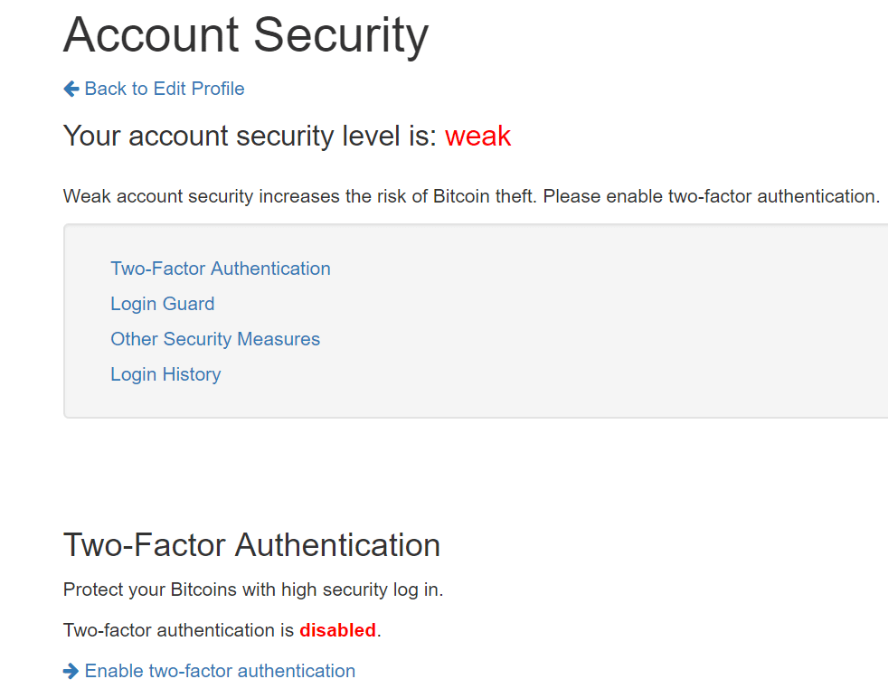 Account Security page
