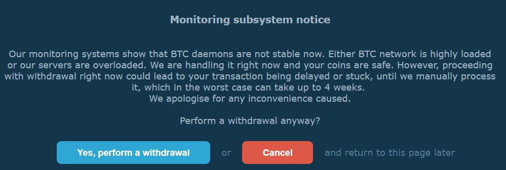 Withdrawal Delay Notice