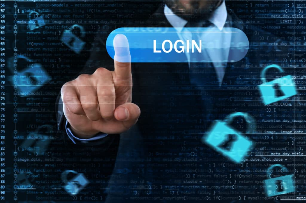 man logging in to a secure account